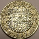 Huge Silver New Zealand 1933 Half Crown~King George V~1st Year Ever~Free Ship