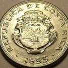 Unc Costa Rica 1953 10 Centesimos~Stainless Steel~1st Year Ever Minted~Free Shi*