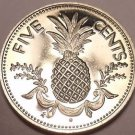 Rare Proof Bahamas 1977 5 Cents~Pineapple With Garland~11,000 Minted~Free Ship
