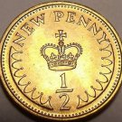 Gem Unc Great Britain 1981 Half New Penny~A Royal Crown~Last Year~Free Shipping
