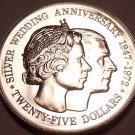 Rare Silver Proof Cayman Islands 1972 $25.00~Elizabeth & Phillips 25th Anniv~F/S