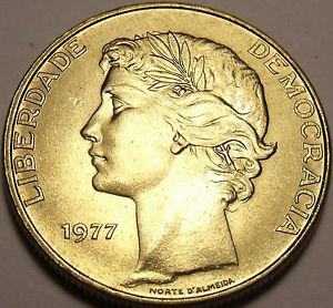 Large Gem Unc Portugal 1977 25 Escudos~1st Year Ever Minted~Free Shipping