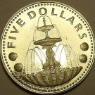Silver Proof Barbados 1973 $5.00~1st Year Ever~Shell Fountain~Free Shipping