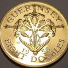 Extremely Rare Large Proof Guernsey 1956 8 Doubles~2,100 Minted~Awesome~Free Shi