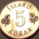 Rare Proof Iceland 1966 5 Aurar~Only 15,000 Minted~Last Year Ever~Free Shipping