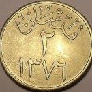 Gem Unc Suadi Arabia AH1376 (1957) 2 Ghirsh~We Have Middle Eastern Coins~Fr/Ship