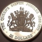 Rare Silver Proof Cayman Islands 1977 $25.00~Queens Silver Jubilee~Awesome~Fr/Sh