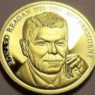 Gem Cameo Proof 24k Gold Plated Ronald Reagan 40th President Medallion~Fr/Ship
