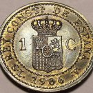 Unc Spain 1906 Centimo~Over 100 Years Old~Alfonso XIII~6 Pointed Star~Free Ship