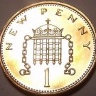 Proof Great Britain 1976 Penny~Only 100,000 Minted~Crowned Portocullis~Free Ship