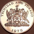 Rare Proof Trinidad & Tobago 1975 10 Cents~24k Minted~Flaming Hibiscus~Free Ship