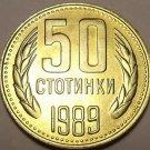 Gem Unc Bulgaria 1989 50 Stotinki~Free Shipping