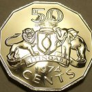 Large Rare Proof Swaziland 1974 50 Cents~Scalloped Coin~Elephant & Lion~Free Shi