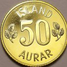 Rare Proof Iceland 1974 50 Aurar~Only 15,000 Minted~Last Year Ever~Free Shipping