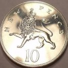 Scarce Proof Great Britain 1972 10 Pence~150,000 Minted~Crowned Lion~Free Ship
