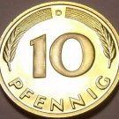 Gem Cameo Proof Germany 1999-D 10 Pfennig~Minted In Munich~70k Minted~Free Ship