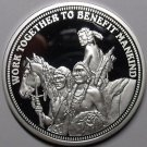 Silver Plated Cameo Proof Work Together To Benefit Mankind Medallion~Indian~Fr/S