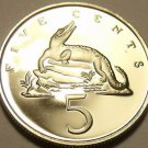 Rare Proof Jamaica 1973 5 Cents~American Crocodile~28,000 Minted~FreeShipping