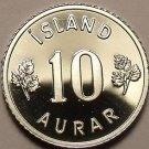 Rare Proof Iceland 1974 10 Aurar~Only 15,000 Minted~Last Year Ever~Free Shipping