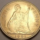 Gem Unc Great Britain 1961 Penny~Britannia Seated Right~Excellent~Free Shipping