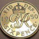 Rare Proof Great britain 1950 6 Pence~Only 18,000 Minted~Free Shipping