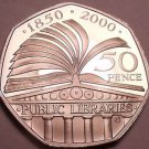 Cameo Proof Great Britain 2000 50 Pence~Public Libraries~100,000 Minted~Free Shi