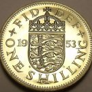Rare Proof Great Britain 1953 Schilling~Only 40,000 Minted~English Shield~Fr/Shi