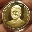 Gem Cameo Proof 24k Gold Plated Ronald Reagan 40th President Medallion~Free Ship