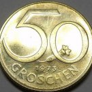 Proof Austria 1973 50 Groschen~90,000 Minted~Austrian Shield~Free Shipping