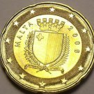 Gem Unc Malta 2008 20 Euro Cents~Map Of Western Europe~Brass~Free Shipping