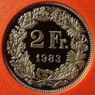 Rare Proof Switzerland 1983 2 Francs~Only 11,000 Minted~Helvetia~Free Shipping