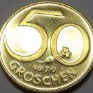 Proof Austria 1970 50 Groschen~128,000 Minted~Austrian Shield~Free Shipping