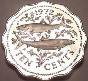 Rare Proof Bahamas 1972 10 Cents~Bone Fish~11,000 Minted~Scalloped~Free Shipping