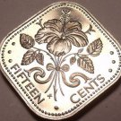 Rare Proof Bahamas 1974 15 Cents~Hibiscus~Triangle Coin~31,000 Minted~Free Ship