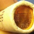 Gem Unc Original Roll (50 Coins) Malta 2008 1 Euro Cents~Minted In Paris~Free Sh