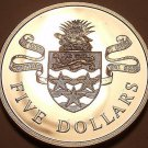 Rare Silver Proof Cayman Islands 1975 5 Dollars~7,753 Minted~Island Arms~Free Sh