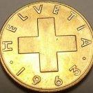 Gem Unc Switzerland 1963-B Rappen~Oat Sprig~Cross~Free Shipping