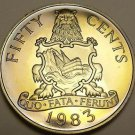 Rare Proof Bermuda 1983 50 Cents~Bermuda Coat Of Arms~6,474 Minted~Free Shipping