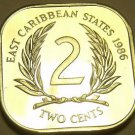 Rare Proof East Caribbean States 1986 2 Cents~Only 2,500 Minted~Free Shipping