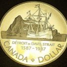 Cameo Silver Proof Canada 1987 Dollar~The Ship John Davis~Fantastic~Free Ship