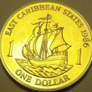 Rare Proof East Caribbean States 1986 Dollar~2,500 Minted~The Golden Hind~Fr/S