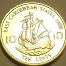 Rare Proof East Caribbean States 1986 10 Cents~2,500 Minted~The Golden Hind~Fr/S