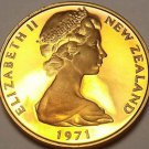 Rare Proof New Zealand 1971 Cent~5,000 Minted~Silver Fern Leaf~Free Shipping