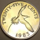 Rare Proof Bermuda 1983 25 Cents~Yellow Billed Tropical Bird~6,474 Minted~Fr/Shi
