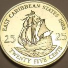 Rare Proof East Caribbean States 1986 25 Cents~2,500 Minted~The Golden Hind~Fr/S