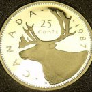 Cameo Proof Canada 1987 25 Cents~179,004 Minted~Caribou~Free Shipping