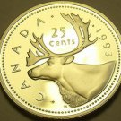 Cameo Proof Canada 1993 25 Cents~Caribou~143,065 Minted~Free Shipping
