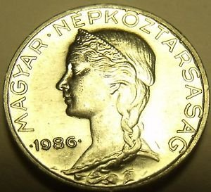Rare Gem Unc Hungary 1986 5 Filler~Only 30,000 Minted~Free Shipping*