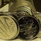 Gem Unc Roll (20) Large Iceland 1996 10 Kronur Coins~School Of Capelin Fish~Fr/S