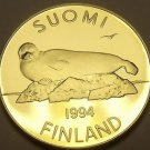 Rare Proof Finland 1994 5 Markka~Lake Saimaa Ringed Seal~5,000 Minted~Free Ship